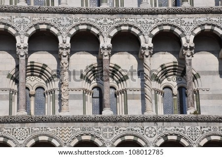 The facade of the San Michele in Foro in Lucca Toscana - stock photo