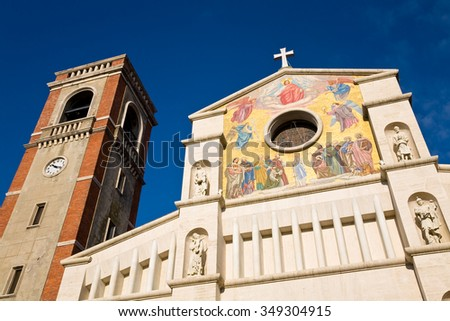 The facade of the San Paolino basilica built in 1896 in the town of Viareggio in the Lucca province of Tuscany, Italy - stock photo