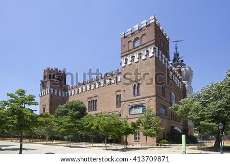 The facade of the zoology museum in the Parc de la Ciutadella park of Barcelona, Spain - stock photo
