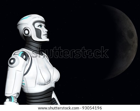 The face of an android woman, gazing out in space. Stars and a planet in the background. - stock photo