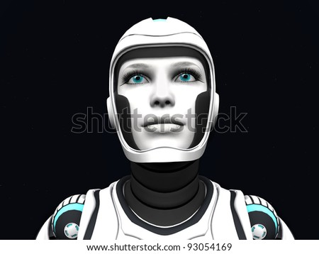 The face of an android woman, gazing out in space. Stars in the background. - stock photo