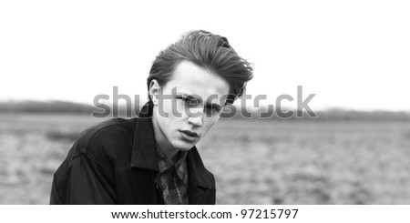 The face of fashion guy - stock photo