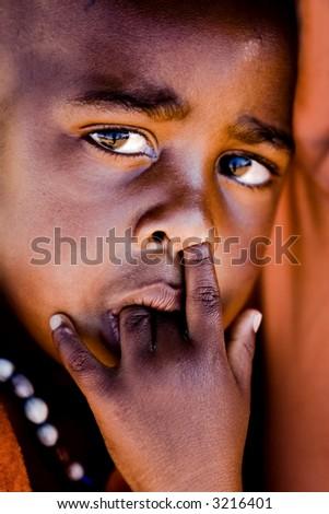 The face of poverty, Kalahari Desert, Mmankgodi village - stock photo