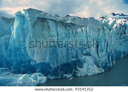 The face of the Mendenhall Glacier in Alaska - stock photo