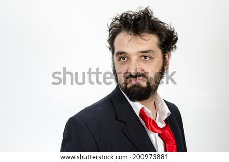 The Facial Expression Of The Disappointed Employee - Man With Facial Expression Disappointed - Isolated On White  / Disappointed Man - Facial Expression - stock photo