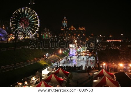 The Fair, and ice skating in Edinburgh near christmas - stock photo