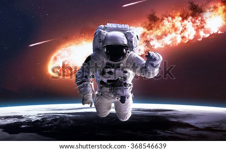 The Falling Meteor Rain. Comet in space, meteor and energy, asteroid glow, powerful star moving. Elements of this image furnished by NASA - stock photo