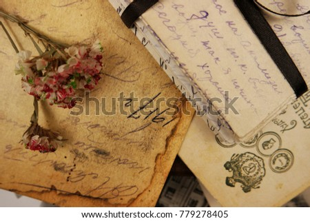 The family archive, old  letters and  photos, memory, background