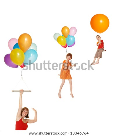 The family flies on balloons - stock photo