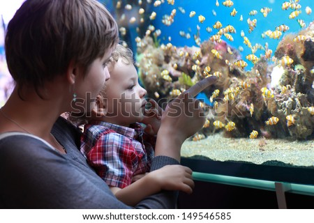 The family has holiday at an aquarium - stock photo