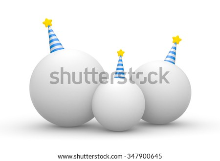 The family of balls with cone hats - stock photo