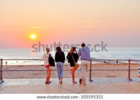 The family of the sea. Seascape. - stock photo