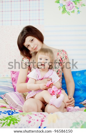 The family, the daughter and mother - stock photo