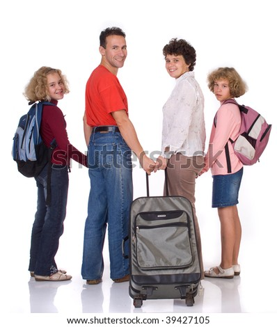 The family   with  a big gray suitcase