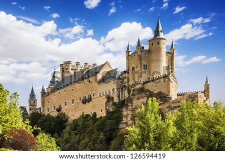 The famous Alcazar of Segovia, Castilla y Leon, Spain - stock photo
