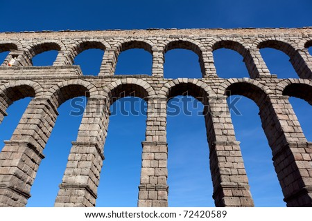 The famous ancient aqueduct in Segovia, Spain - stock photo