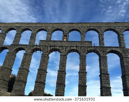 The famous ancient roman aqueduct in Segovia, Spain - stock photo