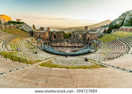The famous and beautiful ancient greek theatre ruins Taormina, Messina, Sicily, Italy - stock photo