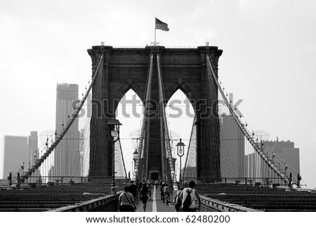The famous and historic Brooklyn Bridge located in New York City. - stock photo