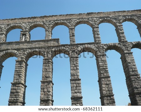 the famous aqueduct in segovia in spain
