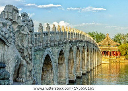 The Famous 17 arch lion bridge in Summer Palace outside of Beijing, China. - stock photo