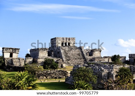 The famous archaeological ruins of Tulum in Mexico - stock photo