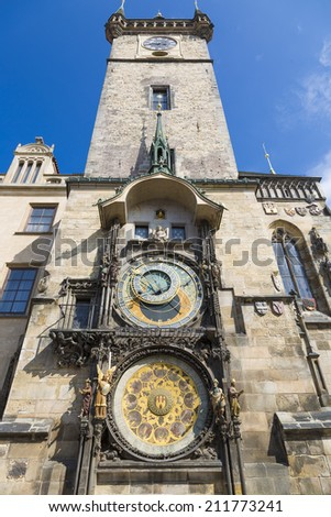 The famous Astronomical Clock (Orloj) in the Old Town of Prague - stock photo