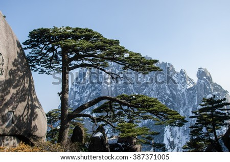 The famous attractions in Mount Huangshan yingkesong - stock photo