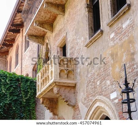 The Famous Balcony of Juliet Capulet Home in Verona, Italy. (Address : 27 Cappello Rd. Verona, Italy) - stock photo