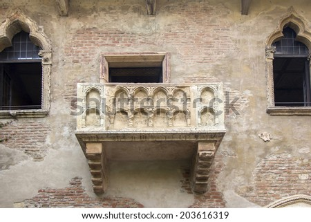 The famous balcony of Romeo and Juliet in Verona, Italy - stock photo