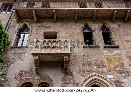 The famous balcony of Romeo and Juliet in Verona, Italy. Juliet's balcony - stock photo
