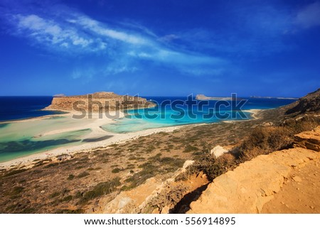 The famous Balos lagoon on Crete island, Greece