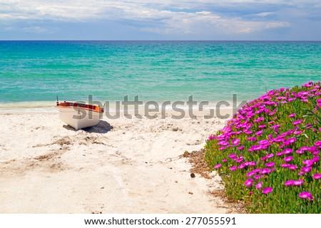 The famous beach at Halkidiki Peninsula, Greece - stock photo