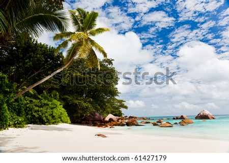 The famous beach of Anse Lazio, one of the most beautiful tropical beach in the world. Praslin island, Seychelles, Indian Ocean. - stock photo