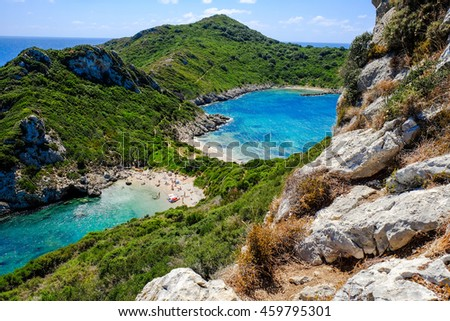 The famous beach Porto Timoni in Corfu island Kerkyra, Greece - stock photo