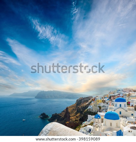 the famous blue and white city Oia,Santorini - stock photo