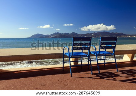 The famous blue chairs  from Cannes Film Festival - stock photo