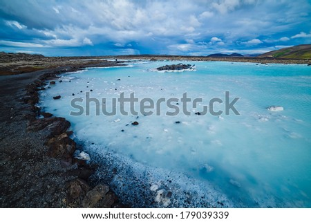 The famous blue lagoon geothermal bath near Reykjavik, Iceland - stock photo