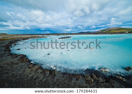 The famous blue lagoon geothermal bath near Reykjavik, Iceland