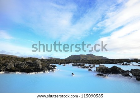 the famous blue lagoon near Reykjavik, Iceland - stock photo