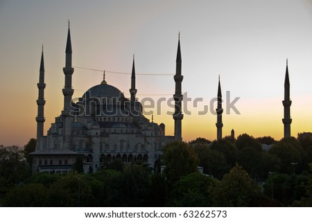 The famous Blue Mosque of Istanbul, Turkey in great sunset - stock photo