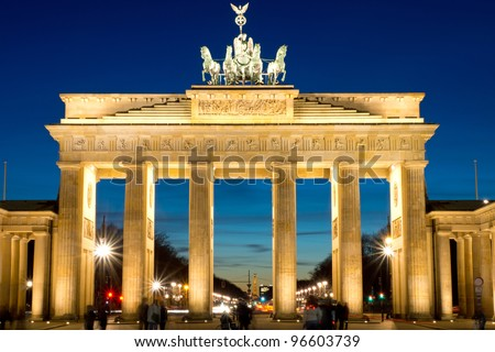 The famous Brandenburger Tor in Berlin at dawn - stock photo