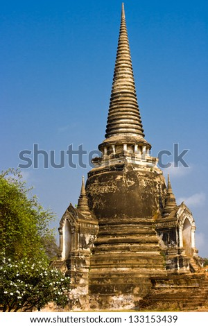 The famous  buddha temple at Ayutthaya Thailand