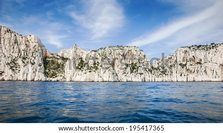 The famous Calanques national park of Cassis (near Marseilles in Provence, France) - blue water, white rocks. - stock photo