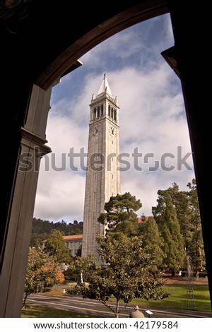 The famous Campanile Clock Tower at the University of California at Berkeley - a major public university - stock photo