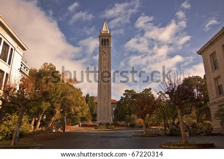The famous Campanile tower at the University of California at Berkeley - stock photo