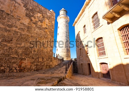 The famous castle and lighthouse of El Morro,a  symbol of Havana - stock photo
