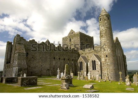 The famous castle the Rock of Cashel in central Ireland. - stock photo