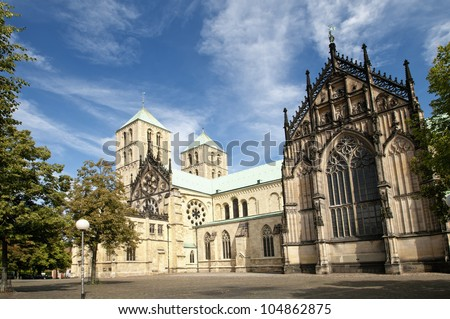 The famous cathedral St. Paulus in Muenster, Germany. - stock photo