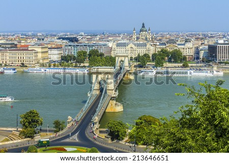 The famous Chain Bridge across the Danube in Budapest, Hungary, Europe. - stock photo
